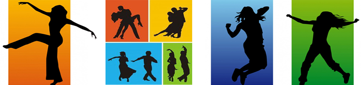 Colorful silhouettes of people in dance and yoga poses.