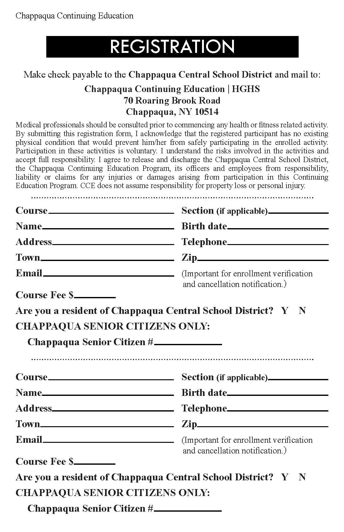Printable registration form.