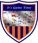 blue and orange calendar shield