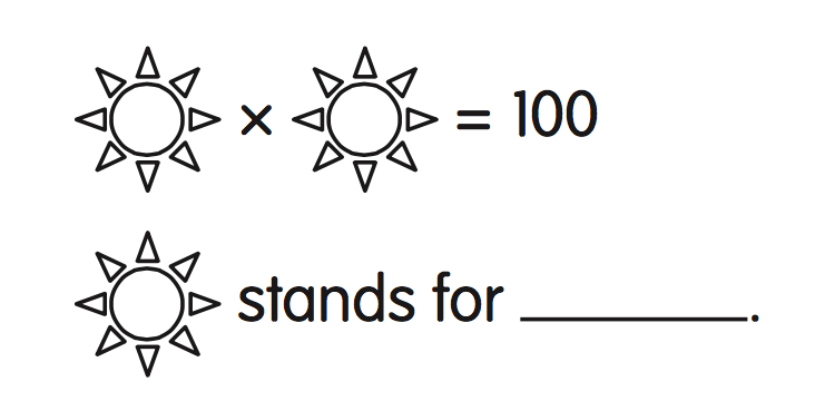 Star times Star equals 100. Star stands for what?