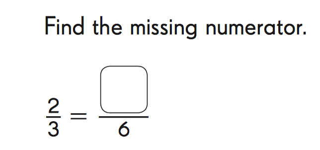 two thrids equals X over 6. Find the missing numerator.