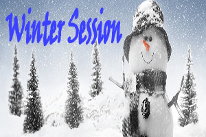 Winter Session. Snowman in a winter scene with evergreen trees.