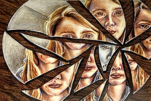 """Through the Looking Glass"" a colored pencil drawing of a female's face on broken pieces of glass."