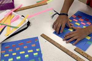 measuring, patterns and paper weaving.