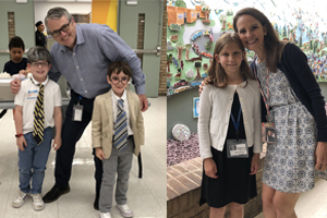 a few students dressed like principal Skoog and assistant principal Stoever.
