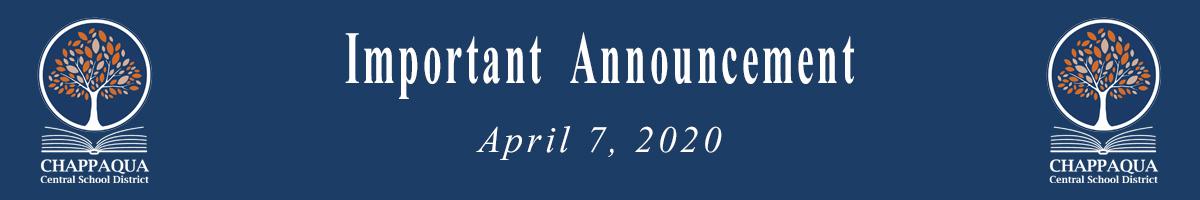 Important Announcement April 7 2020