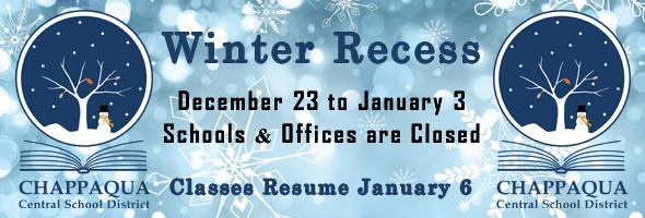 Winter Recess. Dec 23 to Jan 3. Classes resume jan 6.