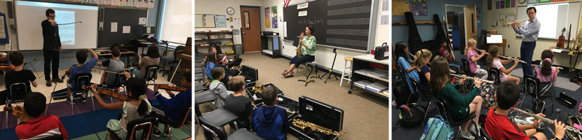 Music lessons. 4th-graders learning Violin, Saxophone, and flute