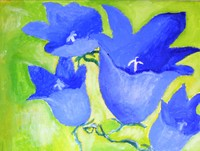 Bluebell flowers acrylic flower painting four blossoms