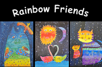 Rainbow friends cat with bird, swans, and two cats