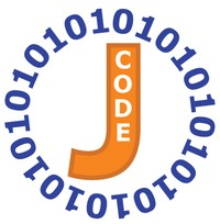Orange J for java script with 01 code circulating J to form coding logo