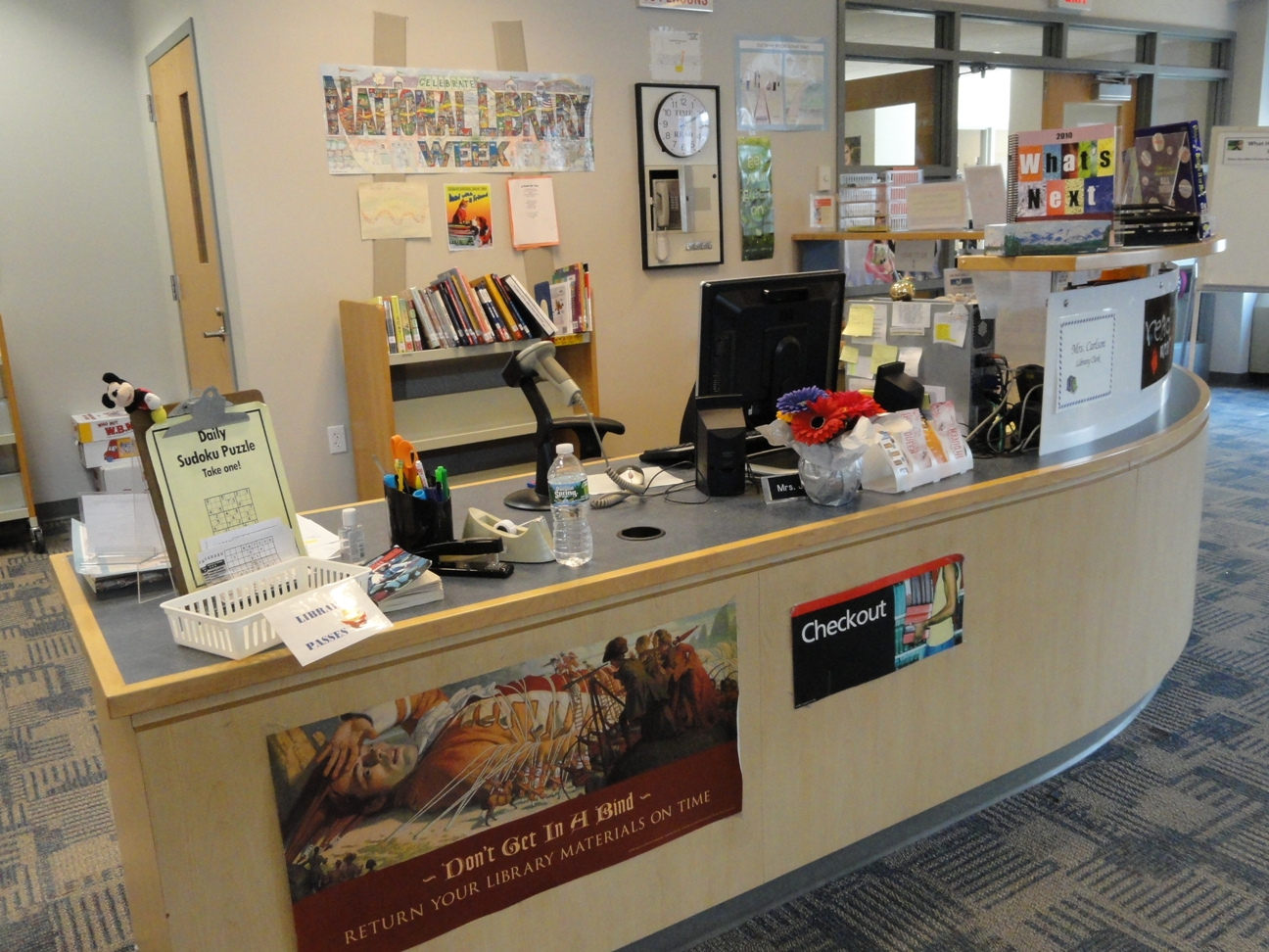 Circulation Desk at Seven Bridges Library