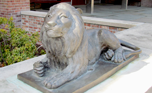 Lion statue outside of Roaring Brook School.
